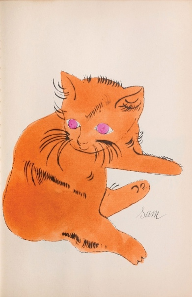 «25 котов по имени Сэм и одна голубая кошка» Энди Уорхола Молодой Уорхол - фрилансер в 50-е зарабатывал книжной иллюстрацией. Уже тогда все любили котиков, а тут еще матушка художника приехала