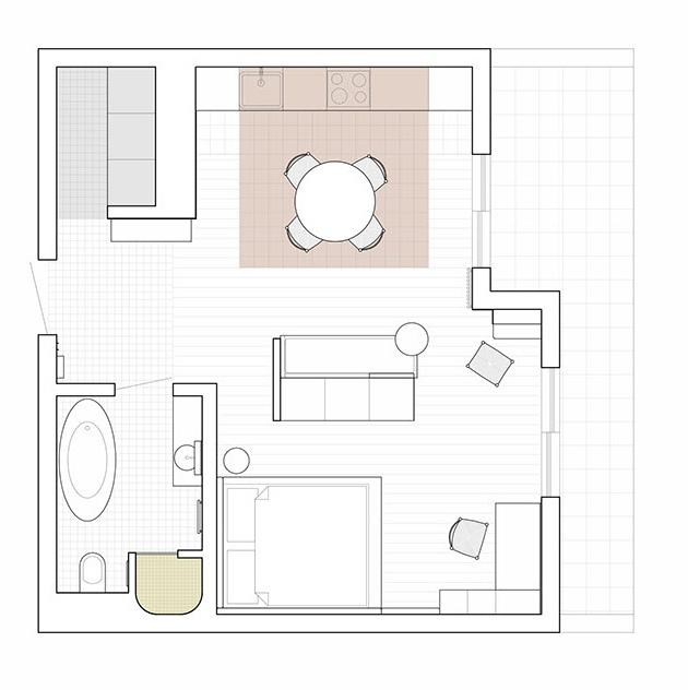 Минималистичный проект квартиры 60 кв.