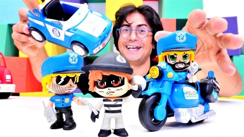 Lego oyuncakları Polis oyunu Polisler için yeni araba ve motosiklet açıyoruz