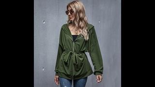 Осенний светильник 2021, зеленая куртка из полиэстера, пальто, женская куртка на молнии со шнуровкой и поясом, верхняя одежда