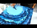 Dark and Stormy Wave With SKY BLUE Background Acrylic Pour Painting Fluid Art