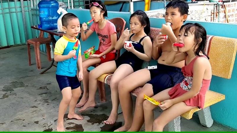 Gia Linh em Cò Gato Hải An Hải Linh và anh Đức nghỉ ăn Kem rồi thi nhảy bể bơi ai xa hơn