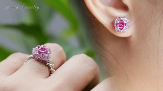 DIY tiny stud earrings and ring. Easy to make beaded jewelry