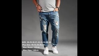 Мужские рваные джинсы, синие, черные джинсовые шаровары в стиле хип хоп, большие размеры 44, 46, 48, мужские модные джоггеры