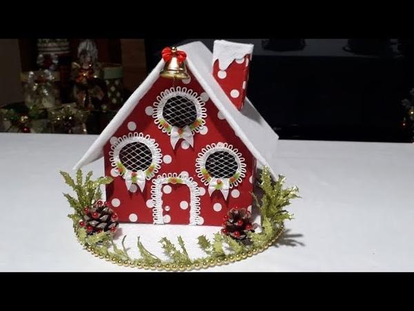 Como fazer Casinha decorativa de Natal com caixa de papelão