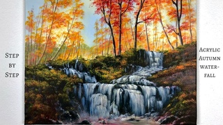 Autumn Waterfall STEP by STEP Acrylic Painting (ColorByFeliks)