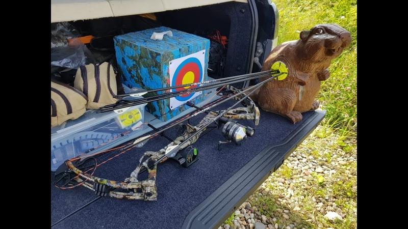 Пристрелка блочного лука Sanlida Dragon X8 SE стрелами и гарпунами для боуфишинга