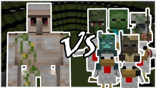 Iron Golem vs Chicken Jockey Army (Zombies, Husk, Drowned) - Minecraft Mob Battle