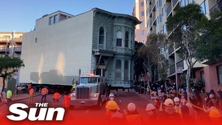139-year-old San Francisco Victorian home is moved by truck 7 blocks to a new location